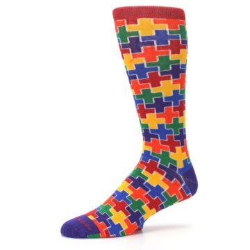 Image of Multicolor Rainbow Plus Men's Crew Socks (side-2-10)
