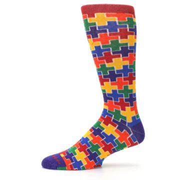 Image of Multicolor Rainbow Plus Men's Crew Socks (side-2-11)