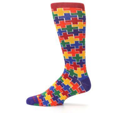 Image of Multicolor Rainbow Plus Men's Crew Socks (side-2-12)