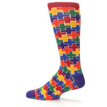 Image of Multicolor Rainbow Plus Men's Crew Socks (side-2-13)