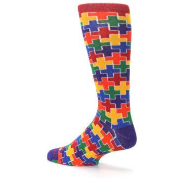 Image of Multicolor Rainbow Plus Men's Crew Socks (side-2-back-14)