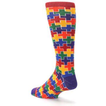 Image of Multicolor Rainbow Plus Men's Crew Socks (side-2-back-15)