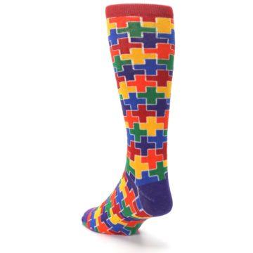 Image of Multicolor Rainbow Plus Men's Crew Socks (side-2-back-16)