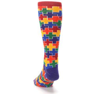 Image of Multicolor Rainbow Plus Men's Crew Socks (back-17)
