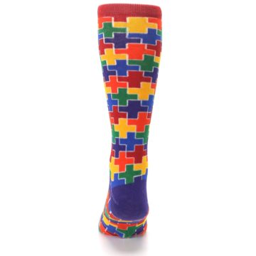 Image of Multicolor Rainbow Plus Men's Crew Socks (back-18)