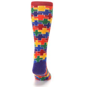Image of Multicolor Rainbow Plus Men's Crew Socks (back-19)