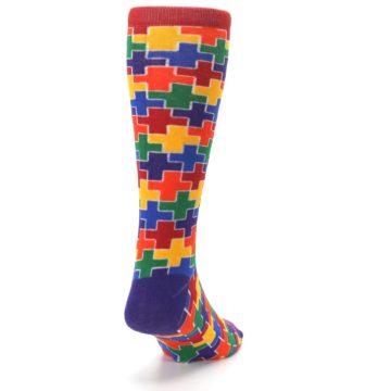 Image of Multicolor Rainbow Plus Men's Crew Socks (side-1-back-20)