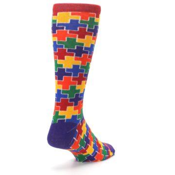Image of Multicolor Rainbow Plus Men's Crew Socks (side-1-back-21)