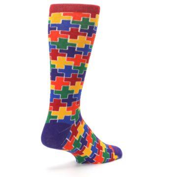 Image of Multicolor Rainbow Plus Men's Crew Socks (side-1-back-22)