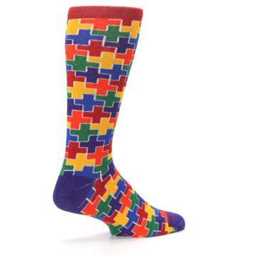 Image of Multicolor Rainbow Plus Men's Crew Socks (side-1-23)