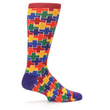 Image of Multicolor Rainbow Plus Men's Crew Socks (side-1-24)