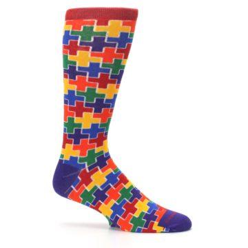 Image of Multicolor Rainbow Plus Men's Crew Socks (side-1-25)