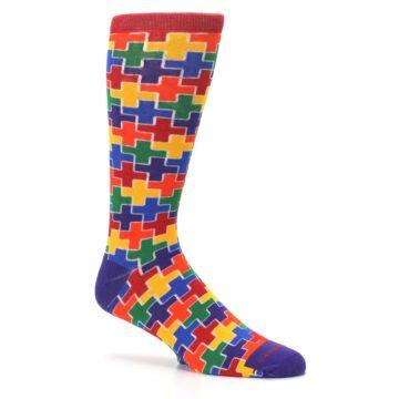Image of Multicolor Rainbow Plus Men's Crew Socks (side-1-26)