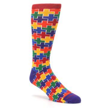 Image of Multicolor Rainbow Plus Men's Crew Socks (side-1-27)
