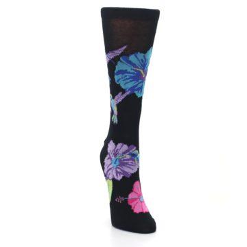 Image of Black Purple Blue Hummingbird Women's Dress Socks (side-1-front-03)