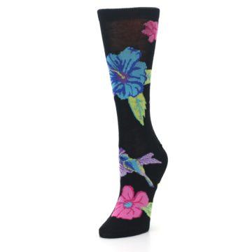 Image of Black Purple Blue Hummingbird Women's Dress Socks (side-2-front-08)