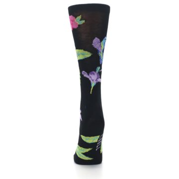 Image of Black Purple Blue Hummingbird Women's Dress Socks (back-18)
