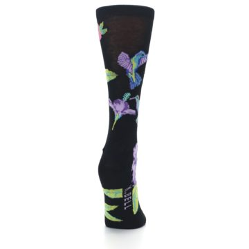 Image of Black Purple Blue Hummingbird Women's Dress Socks (side-1-back-20)