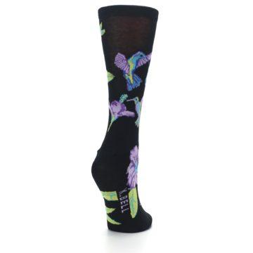 Image of Black Purple Blue Hummingbird Women's Dress Socks (side-1-back-21)