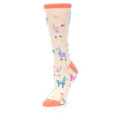 Image of Ivory Pastels Llamas Women's Dress Socks (side-2-09)