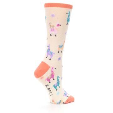 Image of Ivory Pastels Llamas Women's Dress Socks (side-1-24)