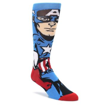 Blue-Red-Captain-America-360-Mens-Casual-Socks-BIOWORLD