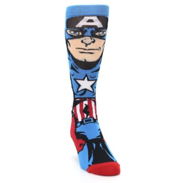 Image of Blue Red Captain America 360 Men's Casual Socks (side-1-front-03)