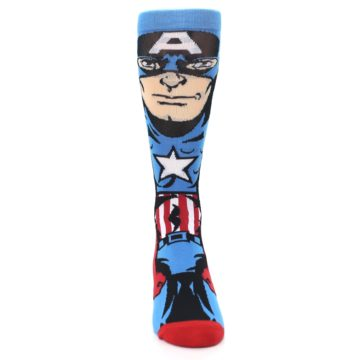 Image of Blue Red Captain America 360 Men's Casual Socks (front-04)