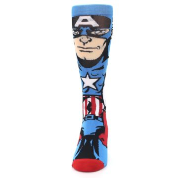 Image of Blue Red Captain America 360 Men's Casual Socks (front-05)
