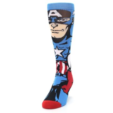 Image of Blue Red Captain America 360 Men's Casual Socks (side-2-front-06)