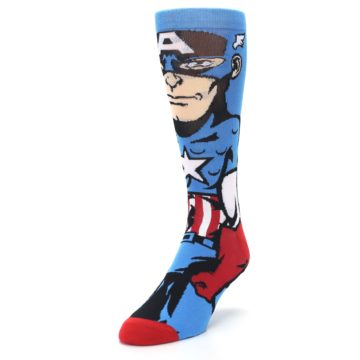 Image of Blue Red Captain America 360 Men's Casual Socks (side-2-front-07)