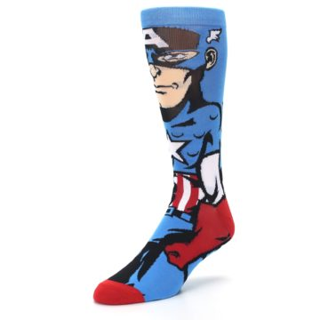 Image of Blue Red Captain America 360 Men's Casual Socks (side-2-front-08)