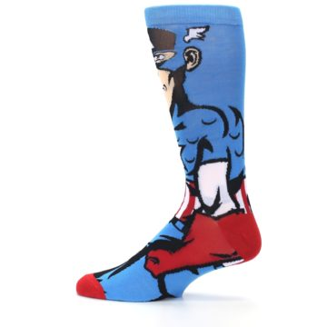 Image of Blue Red Captain America 360 Men's Casual Socks (side-2-12)