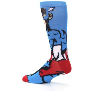 Image of Blue Red Captain America 360 Men's Casual Socks (side-2-13)