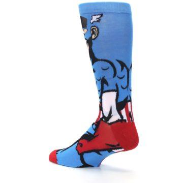Image of Blue Red Captain America 360 Men's Casual Socks (side-2-back-14)