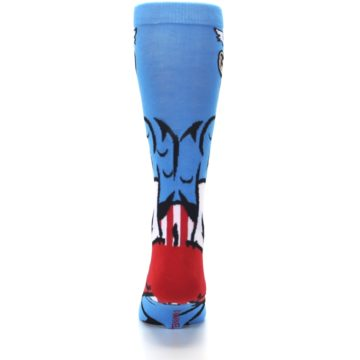 Image of Blue Red Captain America 360 Men's Casual Socks (back-18)