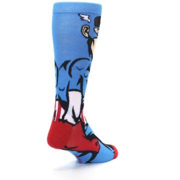 Image of Blue Red Captain America 360 Men's Casual Socks (side-1-back-21)