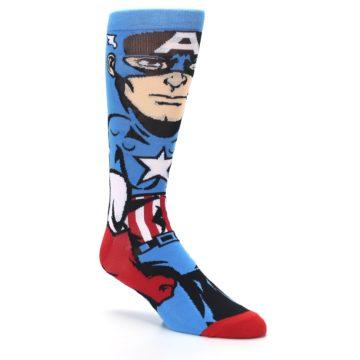Image of Blue Red Captain America 360 Men's Casual Socks (side-1-27)