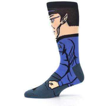 Image of Blue Gray Spock Star Trek 360 Men's Casual Socks (side-2-11)