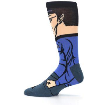 Image of Blue Gray Spock Star Trek 360 Men's Casual Socks (side-2-12)