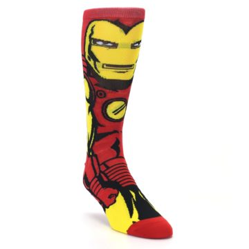 Image of Red Yellow Iron Man 360 Men's Casual Socks (side-1-front-02)