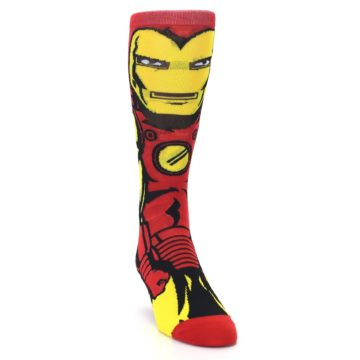 Image of Red Yellow Iron Man 360 Men's Casual Socks (side-1-front-03)