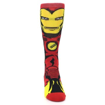 Image of Red Yellow Iron Man 360 Men's Casual Socks (front-04)