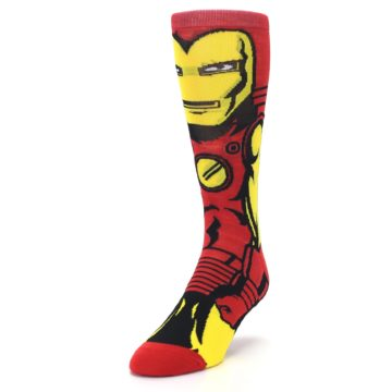 Image of Red Yellow Iron Man 360 Men's Casual Socks (side-2-front-07)