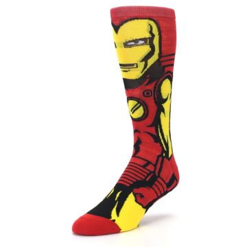 Image of Red Yellow Iron Man 360 Men's Casual Socks (side-2-front-08)