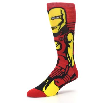Image of Red Yellow Iron Man 360 Men's Casual Socks (side-2-09)