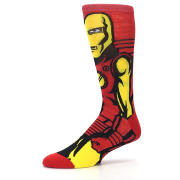 Image of Red Yellow Iron Man 360 Men's Casual Socks (side-2-10)