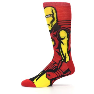 Image of Red Yellow Iron Man 360 Men's Casual Socks (side-2-11)