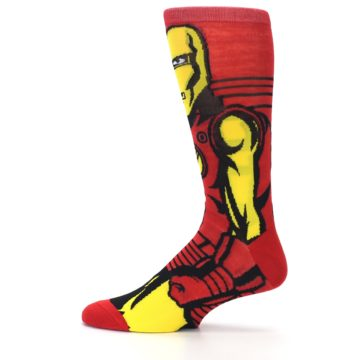 Image of Red Yellow Iron Man 360 Men's Casual Socks (side-2-12)