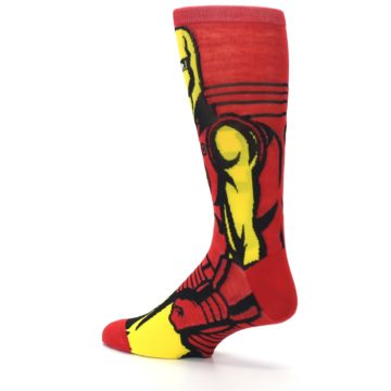 Image of Red Yellow Iron Man 360 Men's Casual Socks (side-2-back-14)